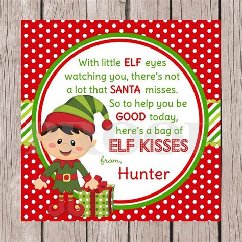 free printable elf kisses tags 5 best images of printable elf tags elf kisses printable