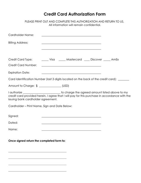 American Express Credit Card Authorization Form Template Free Credit Card Authorization Form