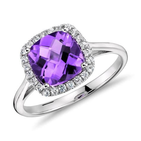Amethyst and Diamond Halo Cushion Ring in 14k White Gold