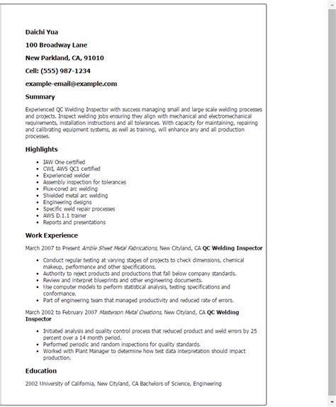 welding certification letter qc welding inspector resume template best design tips