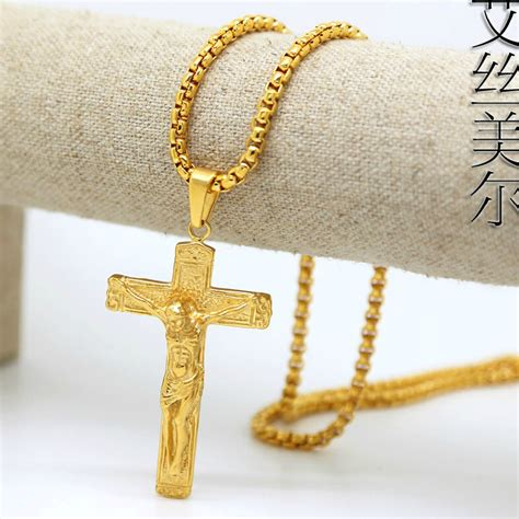 cadenas de oro jesus 18k gold plated jesus cross pendants high quality fashion