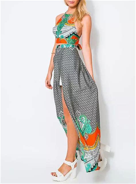Grey Halter Set Topskirt Size S halter top and maxi skirt set gray with 60s influenced