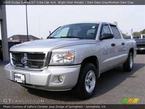 2008 dodge dakota slt crew cab 4x4 in bright silver metallic 519104 nysportscars com cars bright silver metallic 2008 dodge dakota slt crew cab 4x4 dark slate gray medium slate gray
