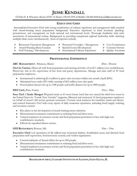 best executive chef resume sles executive chef resume resume badak