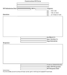 rfi document template construction rfi templates word excel sles