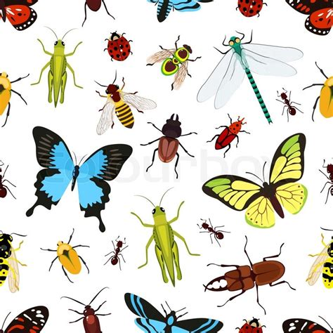 seamless pattern grasshopper insects colored seamless pattern with grasshopper wasp