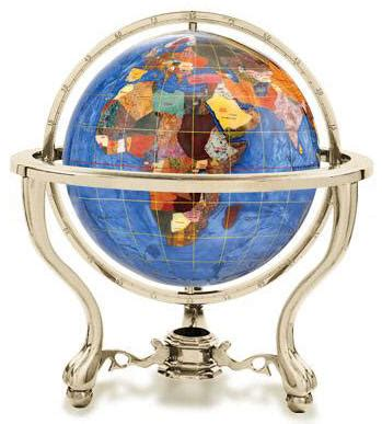 commander 13 quot gemstone desktop world globe by kalifano