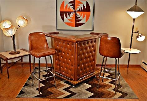 Mid Century Retro Tufted Home Cocktail Bar with 2 Matching
