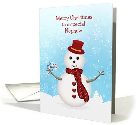 merry christmas snowman  nephew card