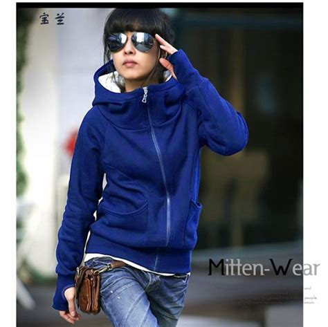 Tk Parka Blue Hoodie Zipper thicken korea style fashion hoodies coat sleeve zip up outerwear black blue army