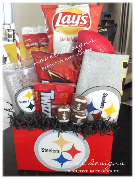 gifts for steelers fans custom steelers fan gift basket w chips popcorn nuts