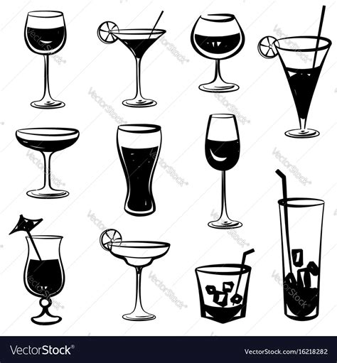 cocktail party silhouette cocktail party icons drink glass silhouette vector image