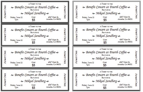 Event Ticket Template Templates For Microsoft 174 Word Free Ticket Template