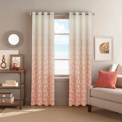 peach bedroom curtains buy seascape grommet top 84 inch window curtain panel in