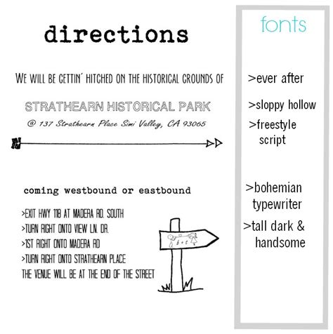 direction cards template free free wedding invitation template with inserts