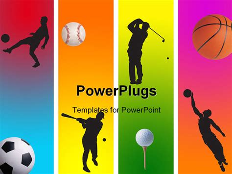 sports powerpoint template 3 football golf baseball and basketball in graphic style