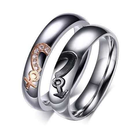 Male & Female Inlaid Cubic Zirconia Couple Rings ? EverMarker