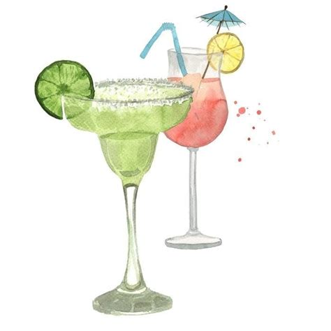 watercolor cocktail watercolour cocktails illustration mojito cari