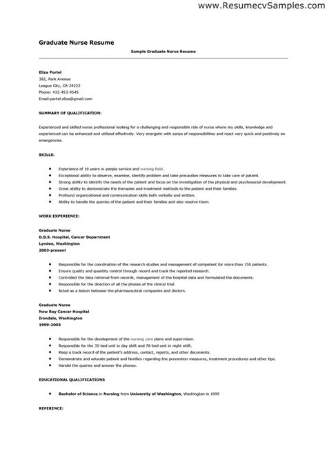 nursing resume sles for new graduates healthcare resume new graduate nursing resume