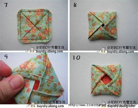 Origami Fabric Flowers - fabric origami sewing craft room flower