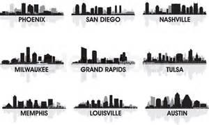 Grand Rapids Skyline Outline by American Cities Skyline Set Stock Vector Colourbox