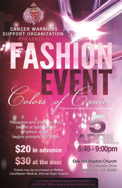 event flyer template cancer warriors fashion show the grip