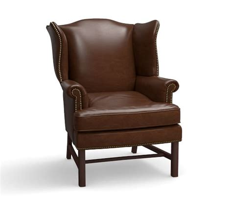 leather wing back chair thatcher leather wingback chair pottery barn