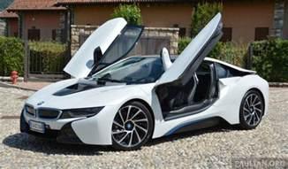 driven bmw i8 in hybrid sports car in milan
