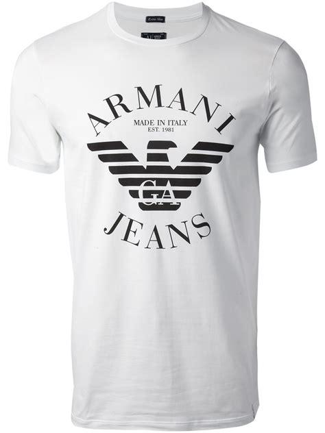 Armani T Shirt lyst armani logo tshirt in white for