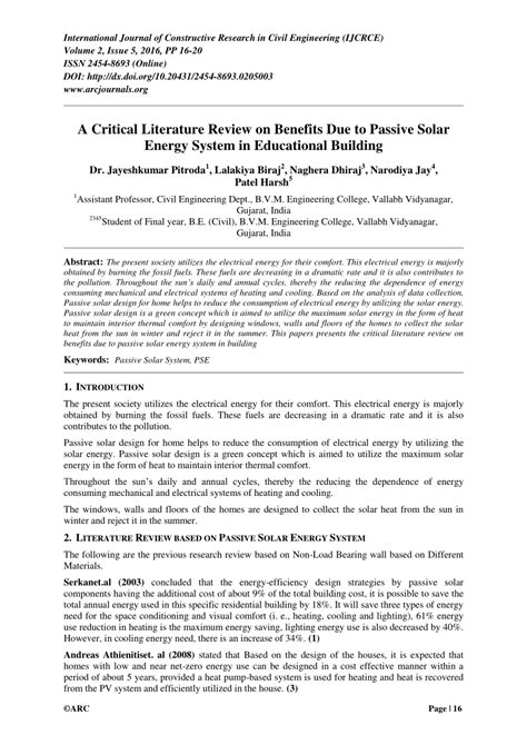 critical literature review  benefits due  passive solar energy system  educational