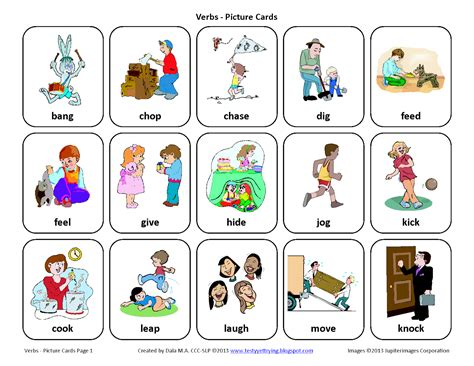 Cards List With Pictures testy yet trying verbs free speech therapy picture cards