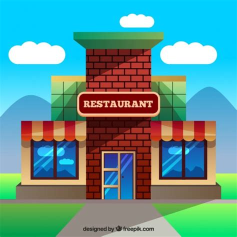 Building Designer Free building restaurant in flat design vector free download