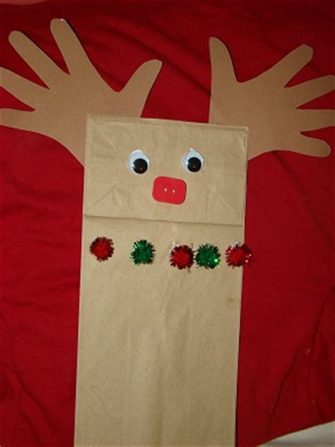 Reindeer Paper Bag Craft - paper bag reindeer puppet craft preschool