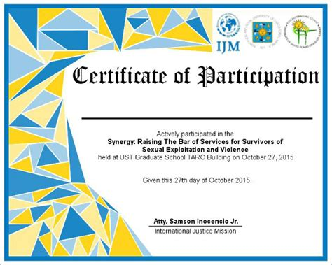 certificate design in word format certificate of participation in