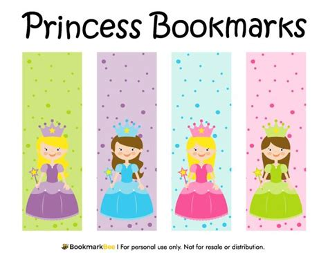 printable bookmarks pdf free printable princess bookmarks each bookmark includes