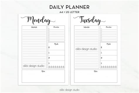 daily 5 planning template daily planner a4 printable undated planner daily schedule