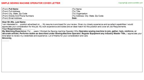 Embroidery Machine Operator Cover Letter by Sewing Machine Operator Cover Letter