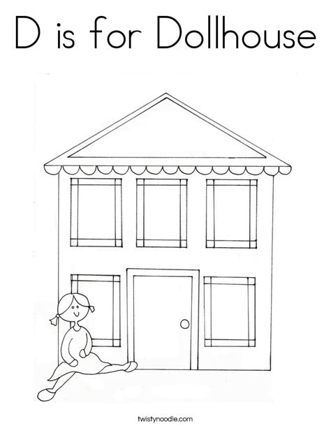 D is for Dollhouse Coloring Page - Twisty Noodle