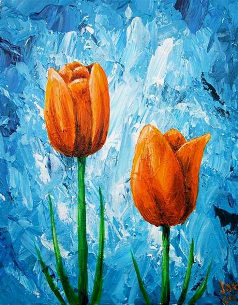 acrylic painting how to do it tulips painting orange flowers acrylic painting 8x10 home