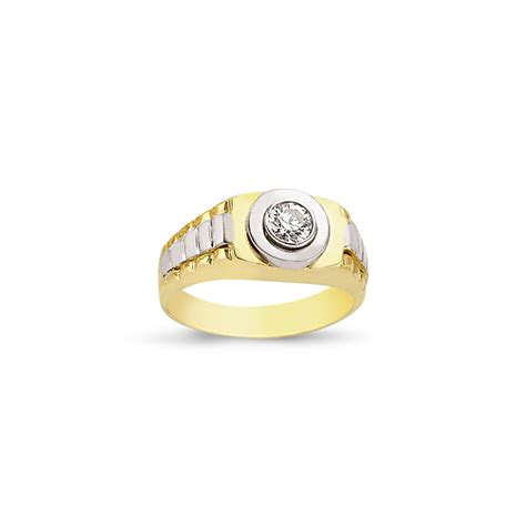 9ct yellow and white gold cz gents ring sks jewellers