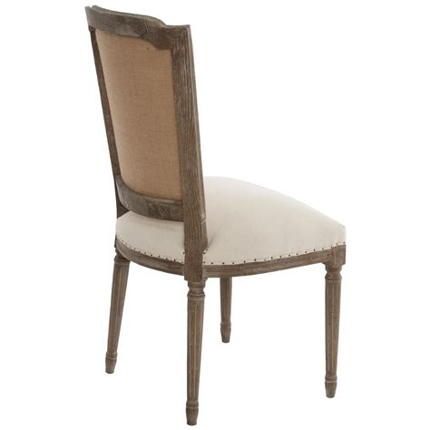 Pair Ethan French Country Rustic Linen Dining Chair Country Dining Chair