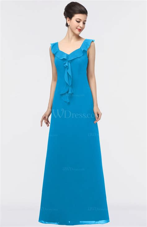 Square Flower Dress cornflower blue a line square sleeveless floor