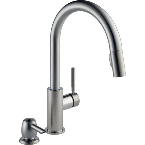 delta stainless steel kitchen faucet shop delta trask stainless steel 1 handle pull deck