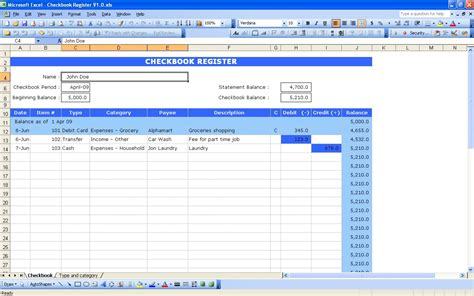 Excel Checkbook Spreadsheet by Check Book Register Template For Excel