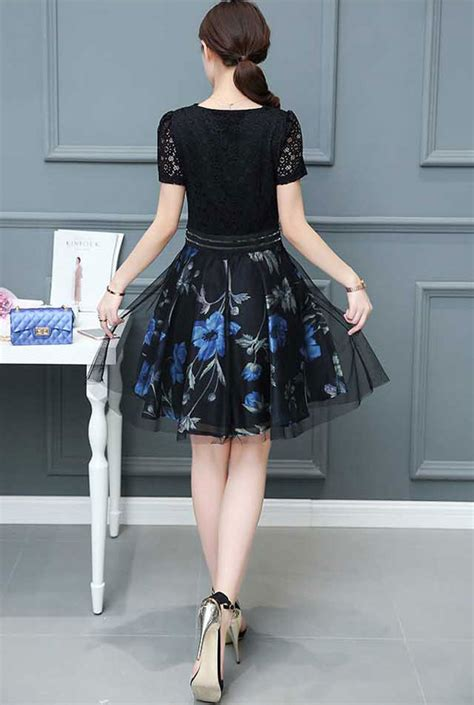 Dress Biru Hitam dress korea warna hitam kombinasi biru bahan brokat da747