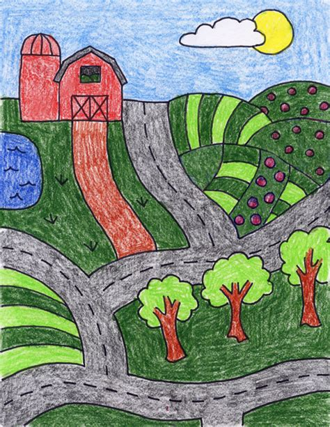 drawing crafts for draw a farm projects for