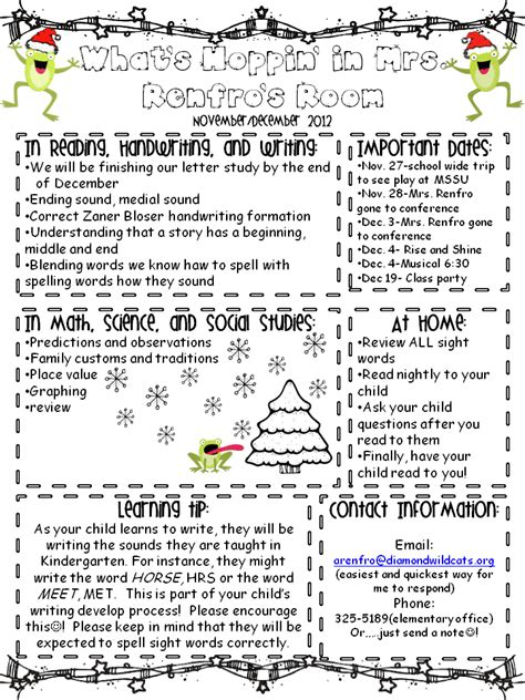 kindergarten times november december newsletter