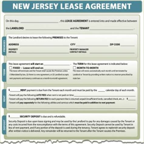 New Jersey Lease Agreement Nj Rental Lease Agreement Templates