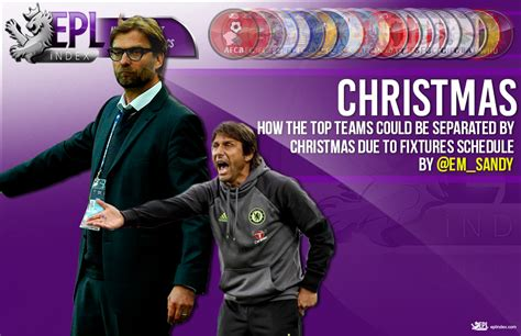 epl xmas fixtures top teams could be separated by christmas due to fixtures
