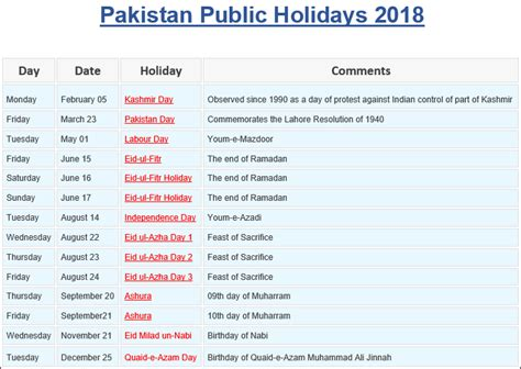 Calendar 2018 Pakistan With Holidays Colorful Printable Calendar 2018 Including